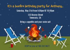 Bonfire Party!!! We love this idea!! Hosting a party? Please visit www.candlesandfavors.com for personalized invitations, thank you notes and party favors!!