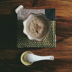 / breakfast: organic soy milk rice pudding w/ cardamom + cinnamon.