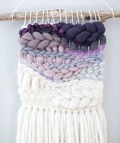 We absolutely love this purple ombré woven wall hanging. It would be so perfect in a baby girls nursery! Weaving Wall Hanging, Weaving Art, Tapestry Weaving, Loom Weaving, Hand Weaving, Weaving Projects, Wall Hangings, Braids With Weave, Craft Day