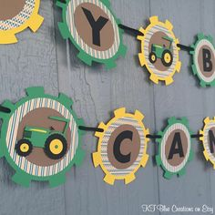 Tractor Birthday Banner Personalized Green от ktbluecreations