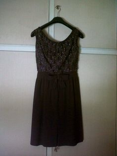 60s brown evening or cocktail dress with beautiful bodice embroidered with beads