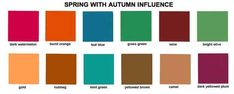 Spring with Autumn Influence: toss out the orange and I can see me choosing many of these... although I'd be most likely to choose the mint-green and teal-blue before anything else on this palette