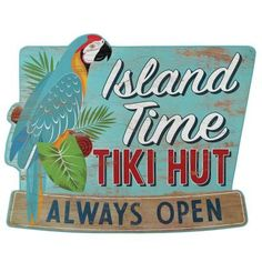 Things move at a slower pace on Island Time, but the what's the rush? The Tiki Hut is always open, so you can take your time sipping on rum cocktails. This vintage wood sign serves as a reminder to slow down every now and then and simply enjoy the moment you're in (or the beverage you're drinking). Color: Blue. Map Wall Decor, Nautical Wall Decor, Vintage Wood Signs, Outdoor Kitchen Patio, Tiki Hut, Classic Theme, Beach Art, Wood Wall Art, Wall Signs