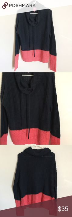 John & Jenn Knit Pullover sweater Good condition size large pullover knit cowl neck with drawstring very cozy in cute blue in  coral color. John & Jenn Tops Sweatshirts & Hoodies