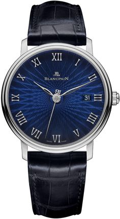 Blancpain Villeret Ultra Slim Blue Dial Alligator Leather Men's Watch 6223C-1529-55A - Blancpain - Shop Watches by Brand - Jomashop