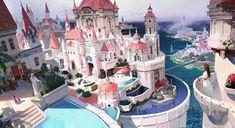 Concept Fantasy Architecture and Interior Fantasy City, Fantasy Castle, Fantasy Places, Medieval Fantasy, Fantasy World, Dark Fantasy, Fantasy Art Landscapes, Fantasy Landscape, Urban Landscape