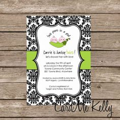 Printable Twin Triplets Peas in A Pod Boy Girl Baby Shower Invitation Digital File. $8.99, via Etsy.