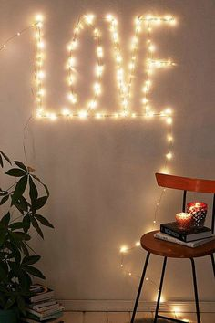 wall signage with string lights
