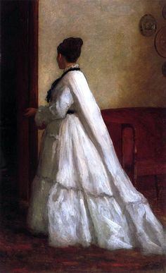 Woman In A White Dress 1873 Metal Print by Johnson Eastman. All metal prints are professionally printed, packaged, and shipped within 3 - 4 business days and delivered ready-to-hang on your wall. Long Sleeve Wedding, Wedding Dress Sleeves, Wedding Dresses, 26 November, November Wedding, Muse By Berta, Orange Color Palettes, Victorian Paintings, Dress Painting