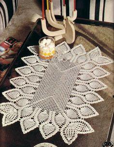 مفرش كروشيه مستطيل بالباترون - rectangle crochet doily ~ شغل ابره NEEDLE CRAFTS