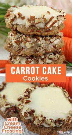 Our Carrot Cake Cookies with Cream Cheese Frosting feature a light, and fluffy cookie chocked full of carrots and cinnamon and topped with delicious cream cheese frosting. Desserts Ostern, Köstliche Desserts, Dessert Recipes, Recipes Dinner, Breakfast Recipes, Delicious Cookie Recipes, Baking Recipes, Sweet Recipes, Carrot Cake Cookies