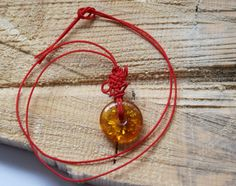 Genuine Baltic amber pendant amber donut red thong by AmberGiftLT