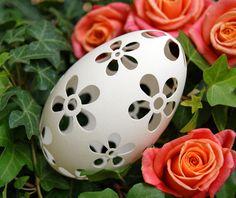 Eggshell of Polish goose - handmade sculpted #79 - transparent easter carved egg ornament decoration unique gift pysanka ażurowa pisanka