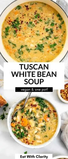 This vegan tuscan white bean soup is the perfect healthy dinner recipe for meal prep. It's easy to make, high in protein and freezer friendly. This vegetarian soup is a total crowd pleaser. Vegan Tomato Soup, Vegetarian Soup, Vegan Soup, White Bean Soup, White Beans, Roasted Butternut Squash Soup, Vegan Meal Prep, Healthy Dinner Recipes, Meal Recipes