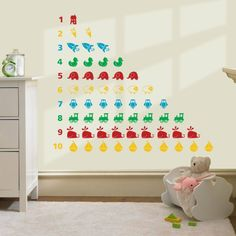 Numbers wall decal for kids' room, featured on NONAGON.style
