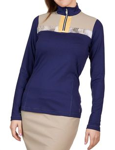 Need new golf apparel? Sofibella  takes pride in offering women a variety of golf clothing. Buy this ALLURE (Navy) Sofibella Ladies & Plus Size Long Sleeve Zip Mock Golf Shirt today from Lori's Golf Shoppe!