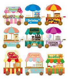 colección de iconos de dibujos animados mercado tienda auto — Ilustración de stock #8290667