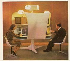 """The """"automated schoolmarm"""" from the New York World's Fair, from two great Paleofuture posts, one about Isaac Asimov and the other about, amongst other things, a fear of ro… Isaac Asimov, 21st Century Classroom, The Jetsons, Future Office, Future Tech, Art Deco, Atomic Age, Co Working, Googie"""