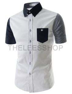 (AL634-WHITE) Mens Slim Fit Two Tone Chest Pocket Short Sleeve Stretchy Woven Shirts
