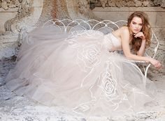 Rose embroidered Nude Tulle bridal ball gown, strapless neckline, natural waist with ribbon detail, sweep train. Bridal Gowns, Wedding Dresses by Jim Hjelm Bridal - JLM Couture - Bridal Style jh8500 by JLM Couture, Inc.