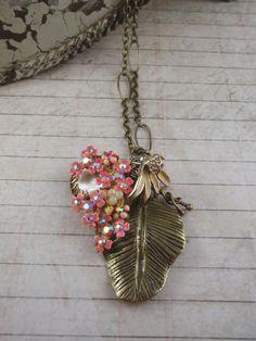 Coral tropical leaf upcycled vintage necklace