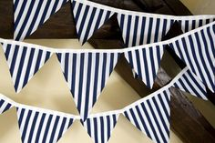 NAUTICAL  bunting in Navy and White Stripe fabric. Great for BBQ and Patio area...11 flags in 2 sizes.