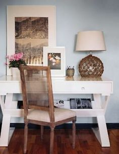 high gloss white desk with rustic french chair x