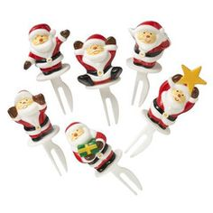 This product comes with 6 Santa Claus with different smily faces. It up to you whether you put a single pick on top of shortcake or put all of them on top of whole cake.  These cute Santas will definitely make your cake look super Kawaii.