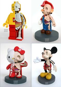 Anatomy Sculptures by Jason Freeny - Lego mario hello kitty Mickey Anatomy Sculpture, Sculpture Art, Lego Mario, Vinyl Toys, Designer Toys, Cultura Pop, Legos, Illustrations, Concept Art