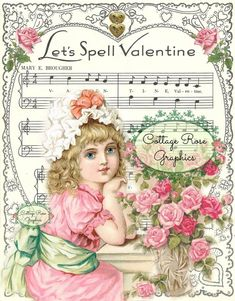 Trendy Ideas For Birthday Wishes Vintage Pink Roses Vintage Valentine Cards, Vintage Greeting Cards, Old Sheet Music, Music Sheets, Valentines For Singles, Victorian Christmas, Victorian Valentines, Pink Christmas, Vintage Music