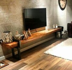 visual result of natural wood tv unit - Wohnaccessoires Home And Living, Room Design, Living Room Decor, Furniture, Natural Wood Furniture, Home, Diy Furniture Plans, Home Deco, Living Room Designs