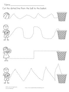 Reading Readiness Worksheets: Tracing, Cutting, Coloring - get your little reader ready to read with these fun basketball worksheets. Fun Worksheets For Kids, Tracing Worksheets, Math For Kids, Preschool Worksheets, Classroom Activities, Printable Worksheets, Preschool Writing, Kids Fun, Free Printable
