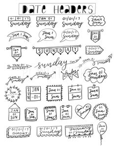 Tons of ways to write Date Headers for any Planner -Free Printable