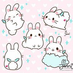 Art Kawaii, Kawaii Doodles, Cute Kawaii Drawings, Kawaii Chibi, Cute Animal Drawings, Cute Doodles, Cute Chibi, Kawaii Anime, Chibi Bunny