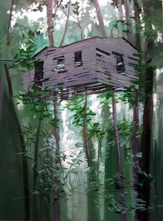 BEN GRASSO: Untitled (Treehouse) Oil on Canvas