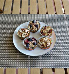 Individual Baked Oatmeal Bites with mixed berries, banana nut, or spiced cranberries.