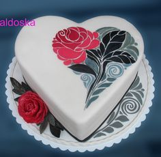 Hand painted Heart cake - Cake by Alena Heart Shaped Cakes, Heart Cakes, Fondant Cakes, Cupcake Cakes, Cupcakes, Mini Tortillas, Beautiful Cakes, Amazing Cakes, Pretty Cakes