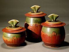 cannister set r/g ash | by David Voll Pottery