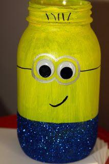 Glitter Minion Mason Jars