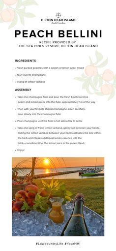 Hilton Head Island Peach Bellini | Hilton Head Island Peach Bellini Recipe, Local Seafood, Easy Day, Hilton Head Island, The Fresh, Dream Vacations, South Carolina, Surfing, Vineyard