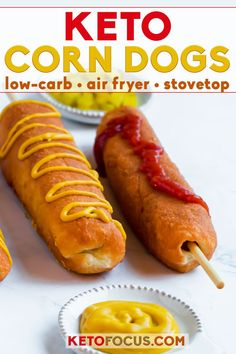 Want the flavor of a hand dipped corn dog but not the carbs? Try a keto corn dog! These corn dogs are not made with cornmeal. They are hand rolled in keto dough and fried to perfection. The result is a low carb corn dog worthy of the county fair! Ketogenic Recipes, Low Carb Recipes, Diet Recipes, Ketogenic Diet, Ketogenic Breakfast, Cooking Recipes, Dukan Diet, Protein Recipes, Shake Recipes