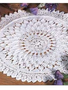 "Knit Lace Leaf Doily - Bedspread Weight Crochet Cotton - Size 2 Double Pointed Needles & Size 2 (16"") Circular Needle"