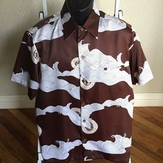 Vintage 70s Tori Richard Hawaiian Shirt Mens  XL Brown Polyester Mod Disco #ToriRichard #Hawaiian #Casual