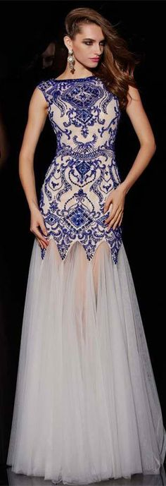 Bateau Tulle Prom Gowns 2015 Floor Length Backless Evening Dresses with Beadings