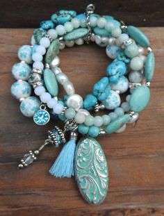 Turquoise colored set of stackable stretch to fit bracelets with freshwater pearls and charms by alittlebitbohemian on Etsy Beaded Wrap Bracelets, Beaded Anklets, Bohemian Bracelets, Ankle Bracelets, Boho Jewelry, Beaded Jewelry, Jewelry Bracelets, Bead Jewellery, Boho Necklace