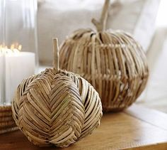Faux Harvest Woven Pumpkins  Made of rattan and wicker, woven over wire frames with driftwood stems.  MUST figure out how to make a version of these....