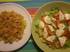 salada + arroz integral + atum