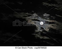A full moon through an opening in the clouds.
