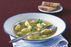 Jarní zeleninová polévka se sýrovými nočky Healthy Soup Recipes, What To Cook, Food And Drink, Cooking, Ethnic Recipes, Kochen, Brewing