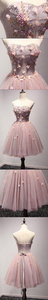 Beautiful Blush Pink Strapless Beaded Homecoming Prom Dresses, Afforda – SposaDesses